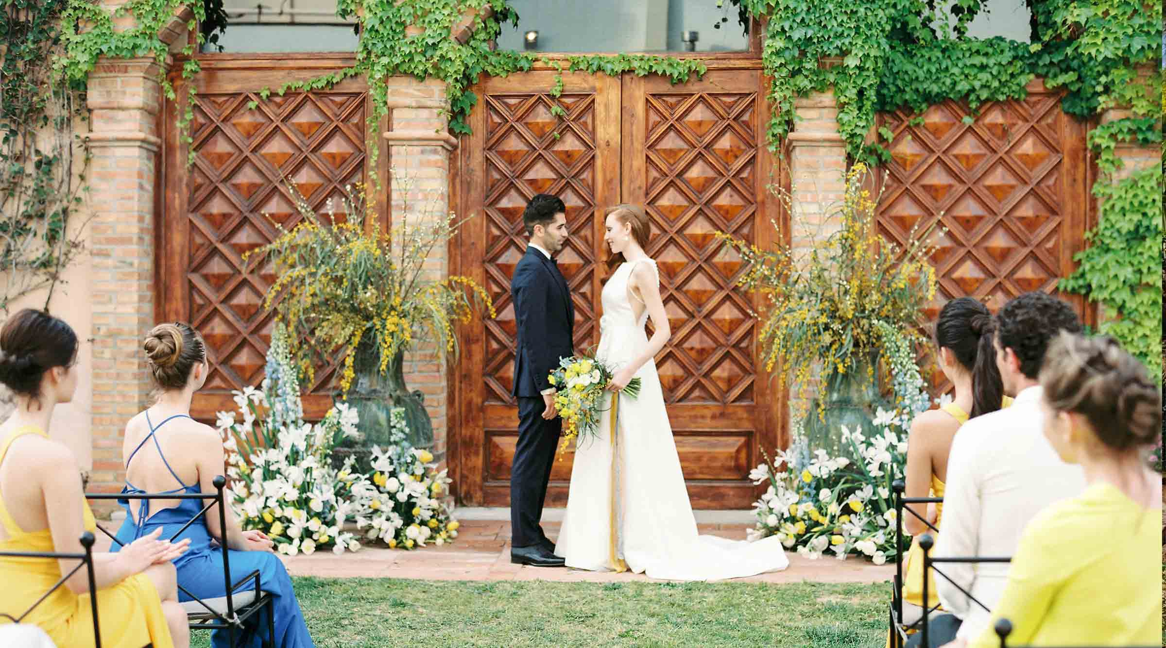Wedding in the garden outside Colombus Hall